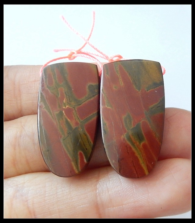 41Ct Natural Multi Color Picasso Jasper Earring Beads(B180405)
