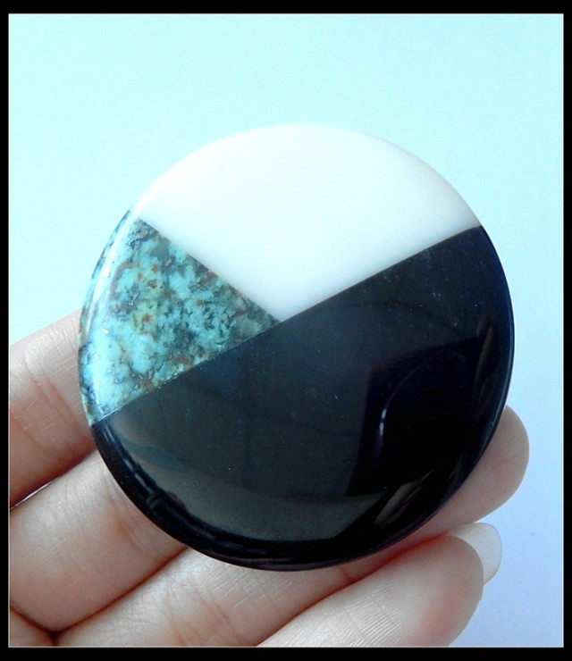 Natural White Agate,African Turquoise,Obsidian Intarsia Pendant Bead(B18042