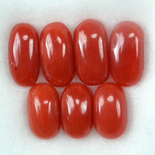 UNHEATED 5.34 Cts Natural Italian Red Coral (7x4 mm) 7 Pcs Parcel