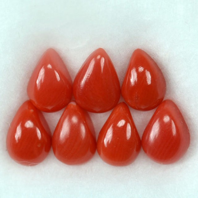 UNHEATED 5.26 Cts Natural Italian Red Coral (7x5 mm) 7 Pcs Parcel