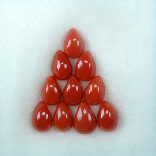 UNHEATED 5.00 Cts Natural Italian Red Coral (6x4 mm) 10 Pcs Parcel