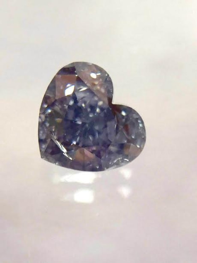 GIA Heart 0.37ct Fancy Grayish Violet I1 Very Rare Color