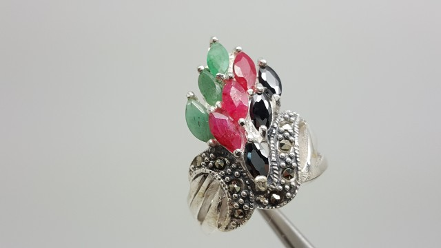 925 Sterling Silver Ruby,Emerald & Sapphire Beautiful Wedding Fashion R