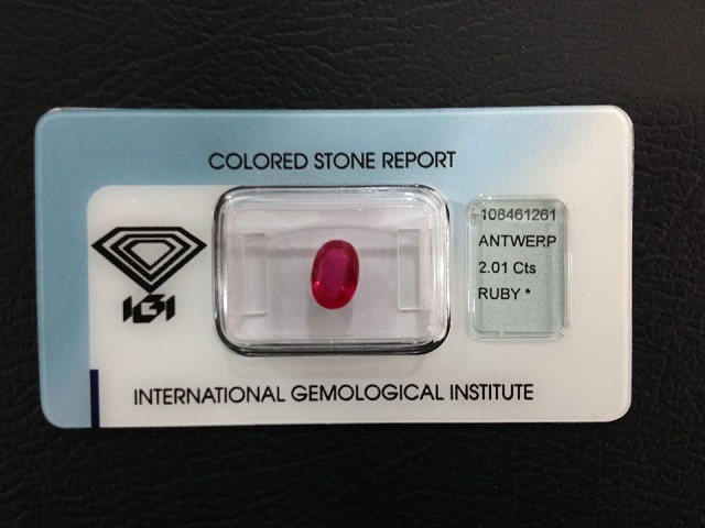 Natural Ruby, 2.01Cts IGI Certified - Burma - Oval Brilliant
