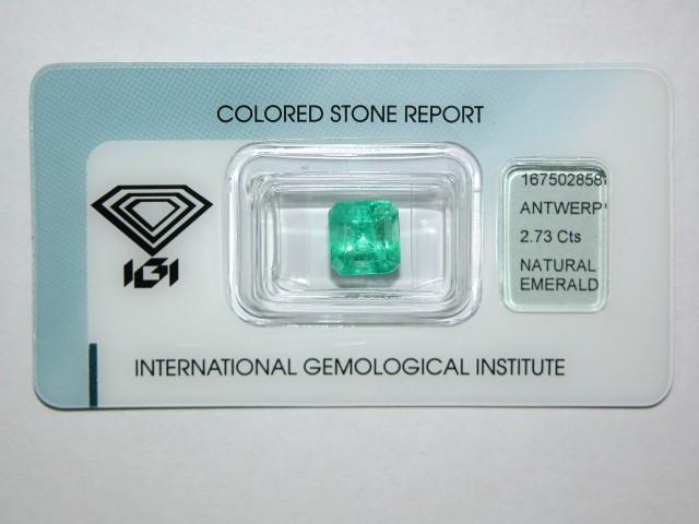 Natural Colombian Emerald 2.73 Cts - IGI Certified - Emerald Cut