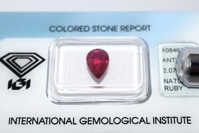 Natural Burma Ruby 2.07 Cts - IGI Certified - Pear Shape Burma