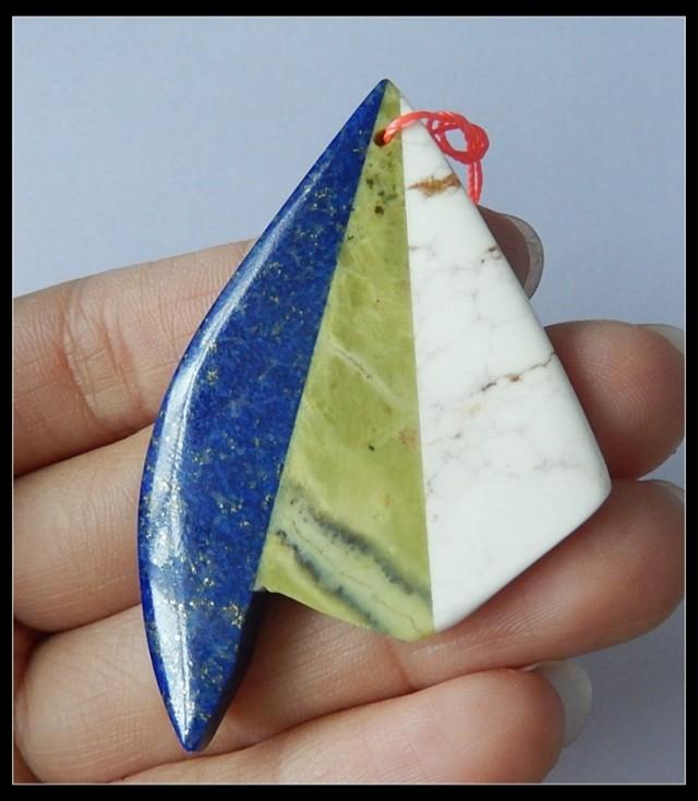 Natural Lapis Lazuli,Serpentine,Howlite Gemstone Intarsia Pendant - 57x37x5
