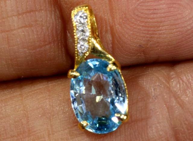 4.2 CTS  BLUE TOPAZ 18K YELLOW GOLD PENDANT  SG-2388
