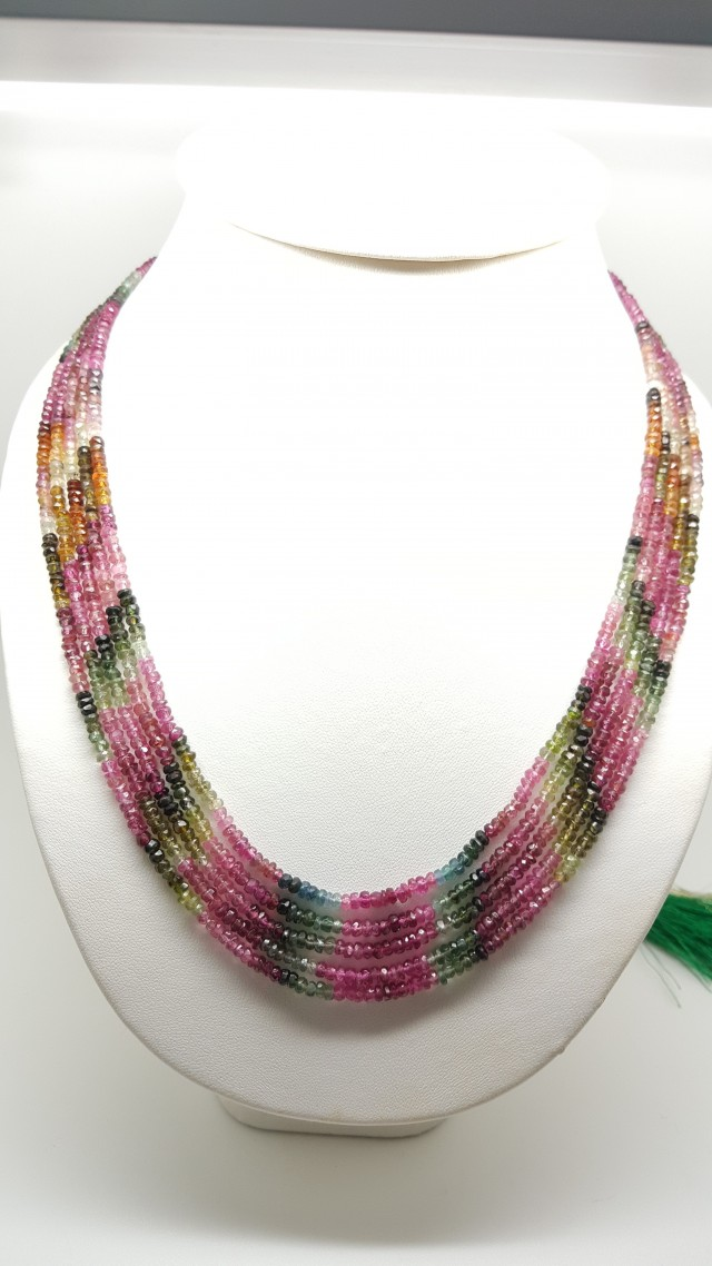 284 Crt Natural Multi- Touramline Faceted Round Beads Necklace
