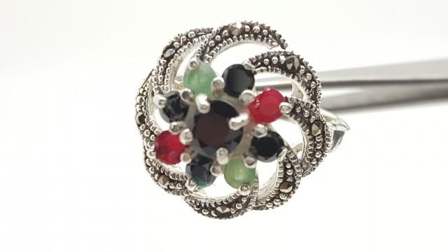 925 Sterling Silver Ruby,Emerald & Sapphire Wedding Fashion Ring 8