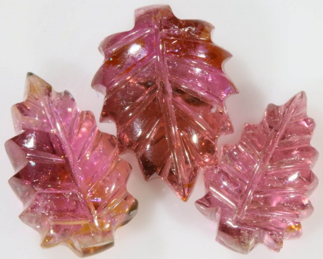 11.30 Cts set three  matching tourmaline carvings GOGO 1457