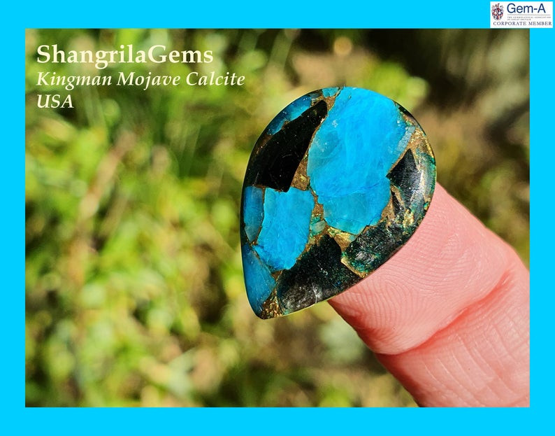 22mm blue mojave calcite cabochon drop pear 22 by 16 by 2.5mm 7ct