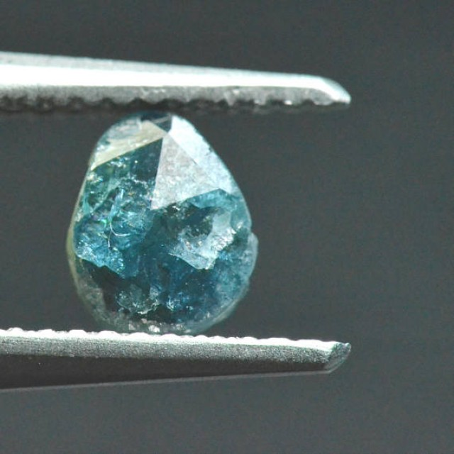 0.675ct 7.35mm Blue diamond slice 7.35 by 5.7 by 1.8mm