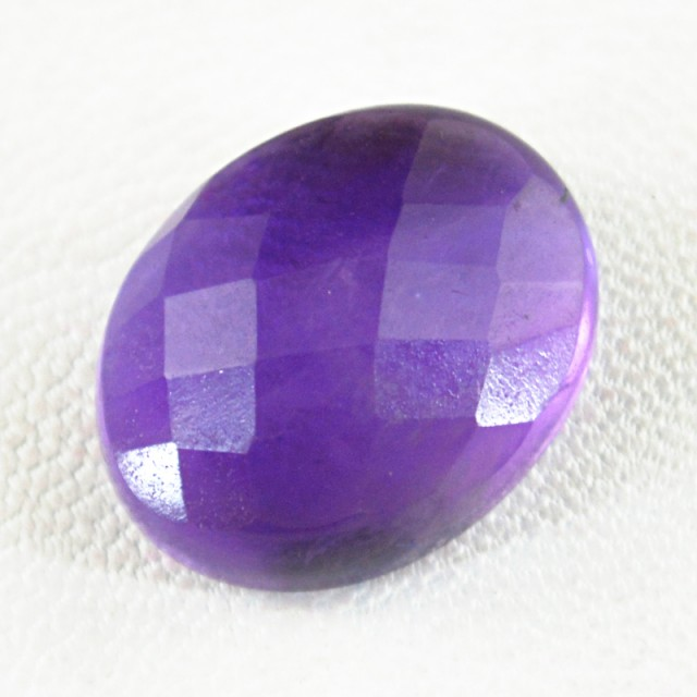 Genuine 19.00 Cts Purple Amethyst Checkered Cut Cab