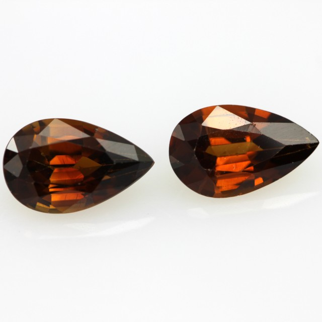 2.36cts Natural Australian Brownish/Red Zircon Matching Pear Shapes