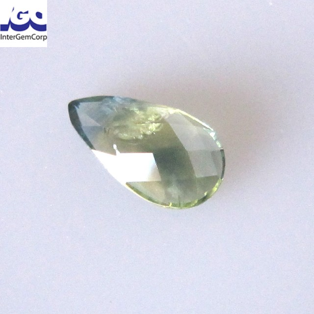0.92cts Natural Australian Yellow Part Sapphire Pear Checker Board Cut