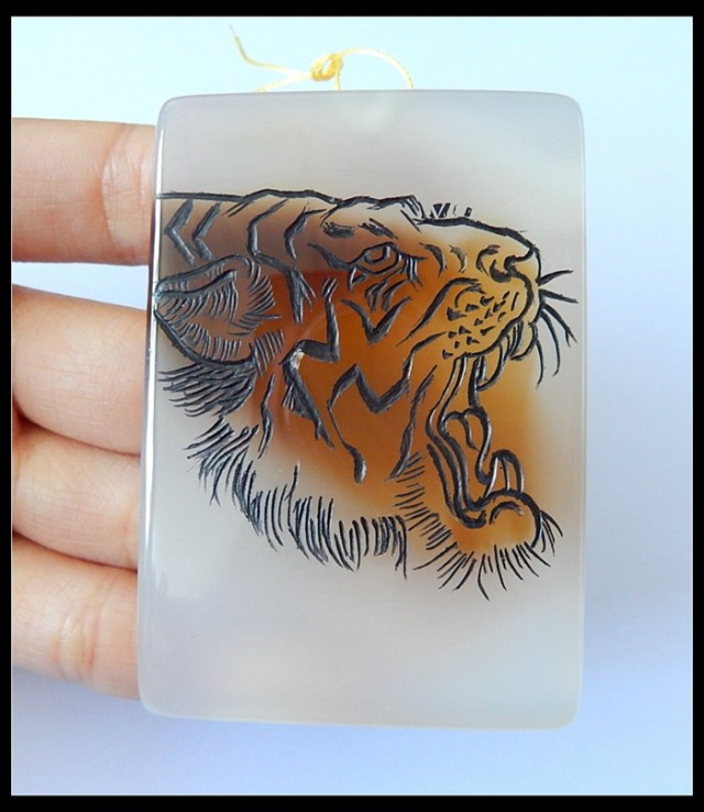 417Ct Agate Pendant With Tiger Head Carving(D0048)