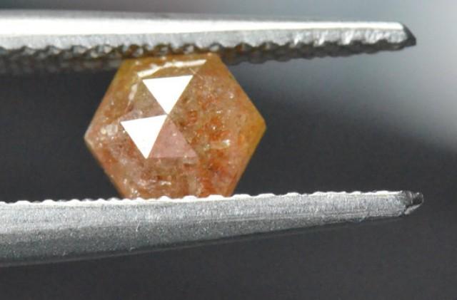 0.91ct 6mm Hexagon Rose Cut diamond reddish brown or cayenne