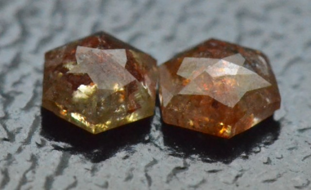 0.37ct 3.6mm pair Hexagon rose cut diamonds bronze cayenne brownish red