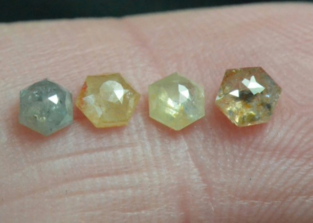0.88ct parcel 3.6 to 4.15mm of 4 Hexagon diamonds cayenne grey yellow
