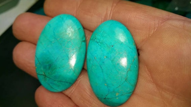 40mm 63ct Pair Chrysocolla Turquoise cabochon