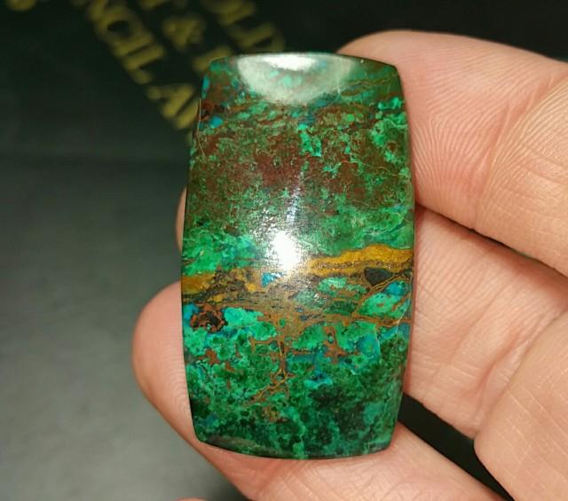 44.85ct chrysocolla cuprite dioptase malachite cabochon