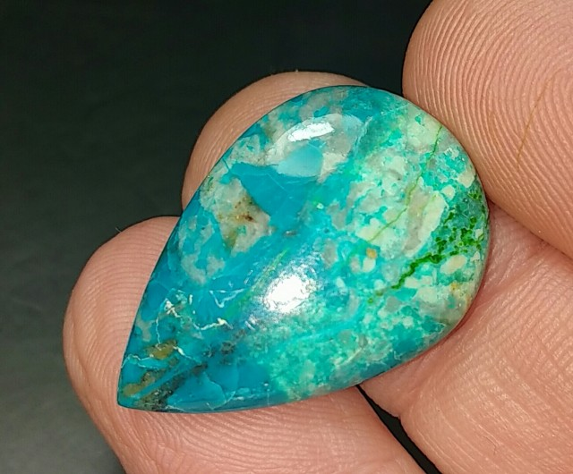 chrysocolla 10.70CT 25mm by 15 by 3.5mm cabochon drop shape