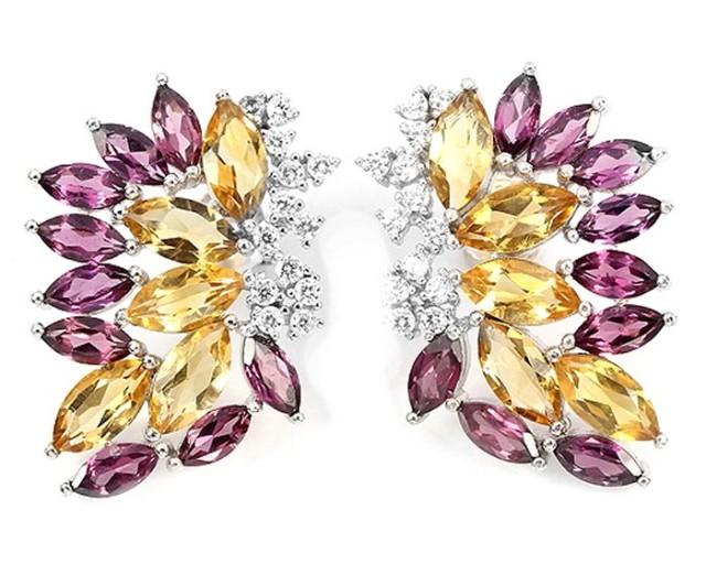 41.69Ct Stamped 925 Silver Earrings / Rhodolite Garnet / Citrine