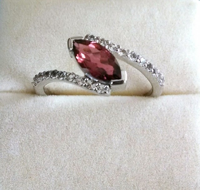 Garnet marquise 925 sterling silver ring #481