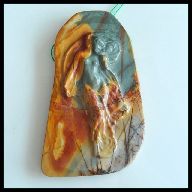Natural Muti Color Picasso Jasper Carving Venus ,Beauty Handicraft Necklace