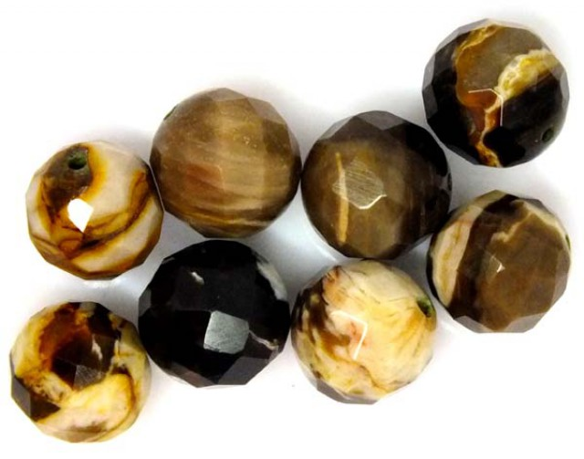 PETRIFIED WOOD BEADS, (8 PC) 64.6 CTS  NP-1195