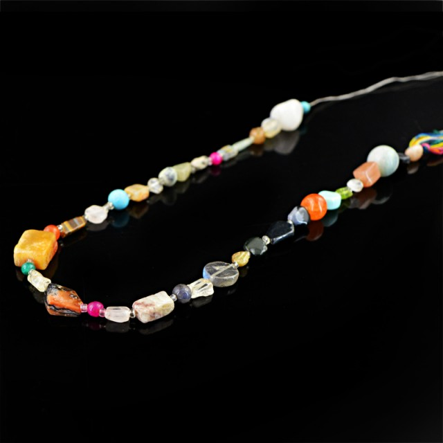 Genuine 93.00 Cts Multi Gemstones Drilled Beads Strand