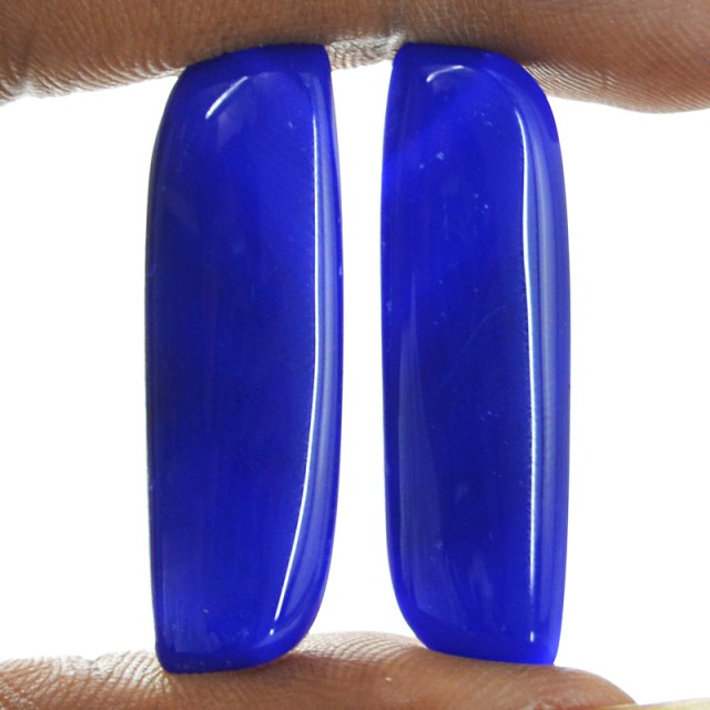 Genuine 24.50 Cts Blue Onyx Cab Pair  12 - IN5