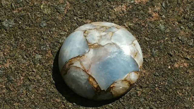24mm round mojave blue calcite 24mm by 7mm