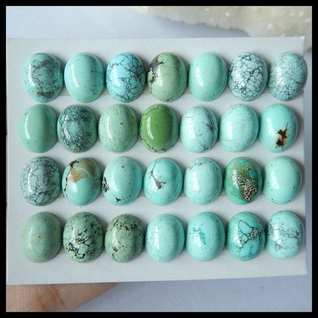 Natural Turquoise Cabochons of High Quality,Oval Cabochon Set,10x9x4mm,81ct