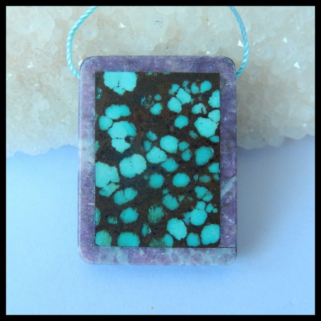 Natural Turquoise,Pink Tourmaline,Obsidian Intarsia Pendant,34x26x6mm,65.5c