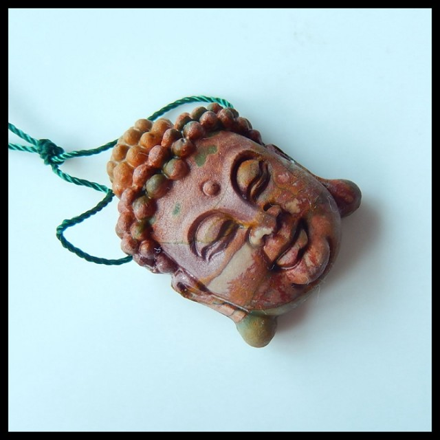 Natural Muti Color Picasso Jasper Carving Buddha Head Pendant Bead,25x31x12