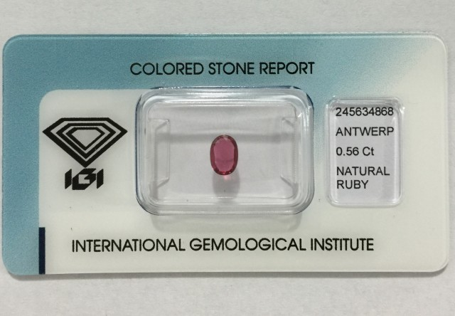 IGI Certified - 0.56Cts - No Treatment - Natural Ruby
