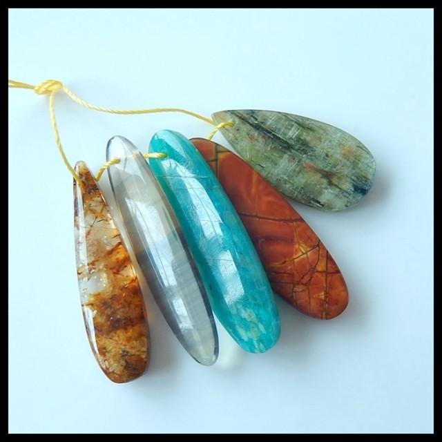 Natural Muti Color Picasso Jasper,Gold Rutilated Quartz,Fluorite,Amazonite,