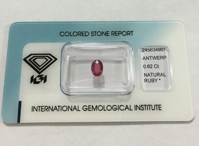IGI Certified - 0.62Cts - No Treatment - Natural Ruby