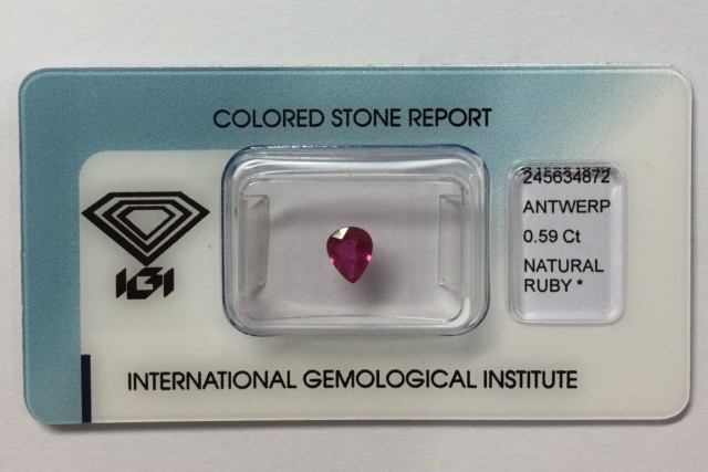 IGI Certified - 0.59Cts -  - Natural Ruby