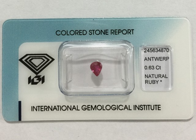 IGI Certified - 0.63Cts - Beautiful Color - Natural Ruby