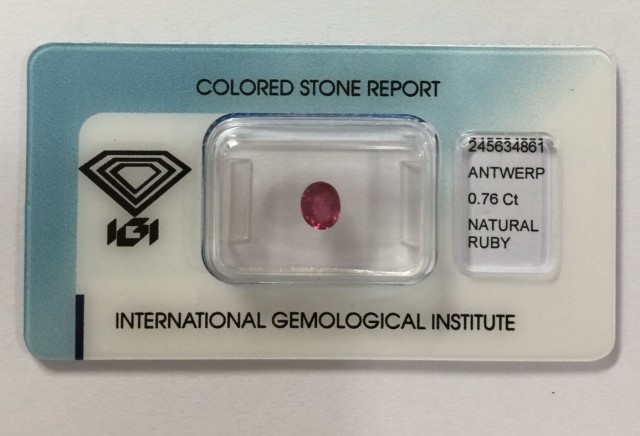 IGI Certified - 0.76Cts -  No Treatment - Natural Ruby