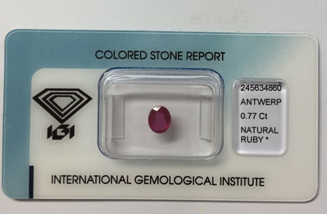 IGI Certified - 0.77Cts - Good Color - Natural Ruby