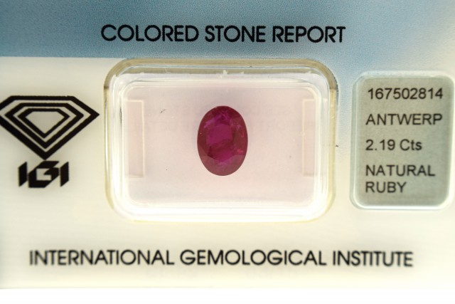 IGI Certified - 2.19Cts - NO TREATMENT  - Natural Ruby