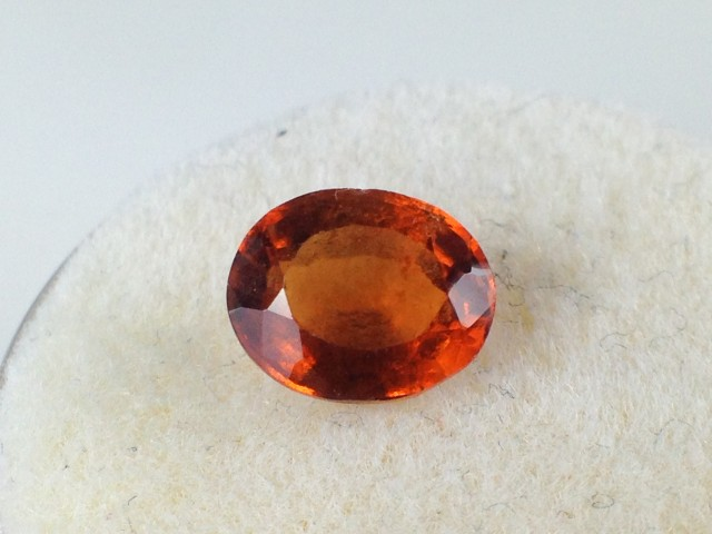 1.27 Carat Oval Cut Reddish Orange Hessonite Garnet