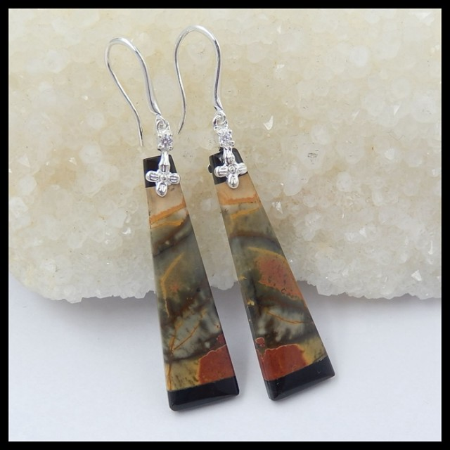 Natural Muti Color Picasso Jasper,Obsidian Intarsia With 925 Sterling Silve