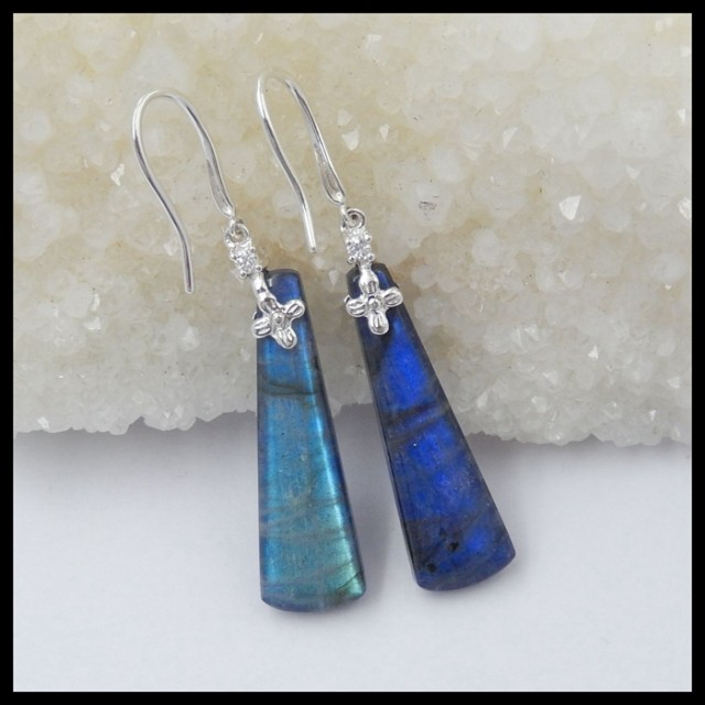 Natural Blue Labradorite,Lapis Lazuli Earrings With 925 Sterling Silver