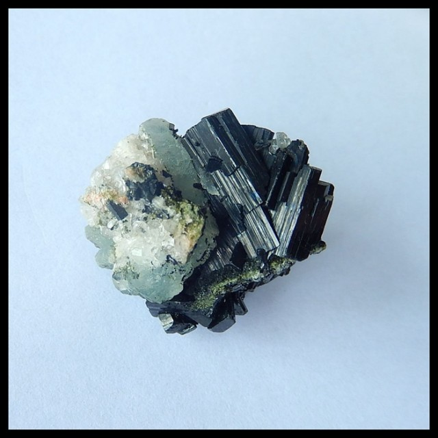 Natural Nugget Babingtonite With Quartz  Cabochon,Semiprecious Stone Specim