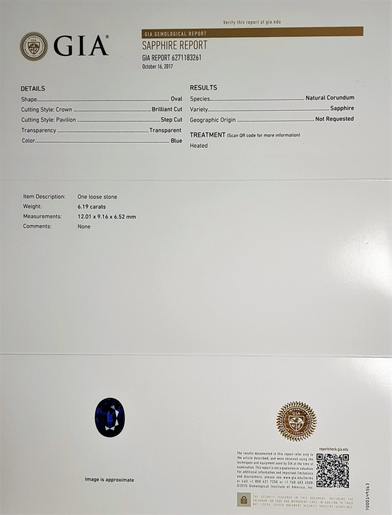 Gia certified 619cts sapphire eye clean calibrated item information geenschuldenfo Image collections